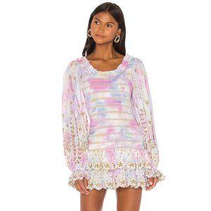 NWT LoveShackFancy Celia dress multicolor dyed XS
